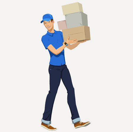 young men: Delivery man - Illustration Illustration