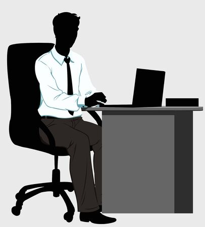 sitting at table: silhouette man at the Desk with laptop