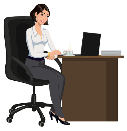 sitting at table: office woman behind a Desk with a laptop