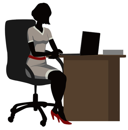 woman using laptop: silhouette office woman  with a laptop