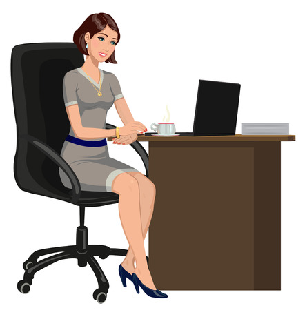 woman side view: office woman behind a Desk with a laptop