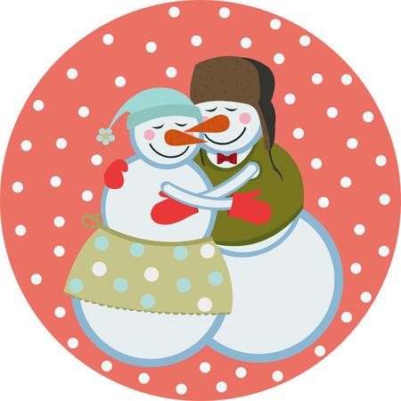 cuddling: love snowmen Illustration