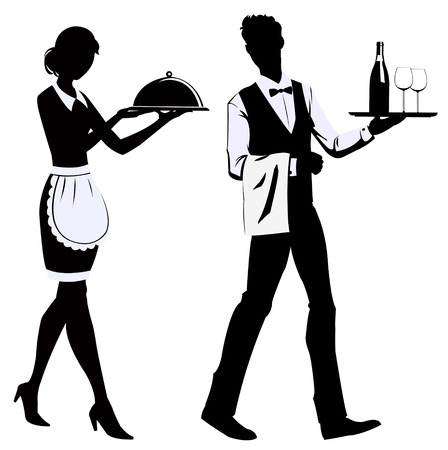 waitress: Silhouette waiters