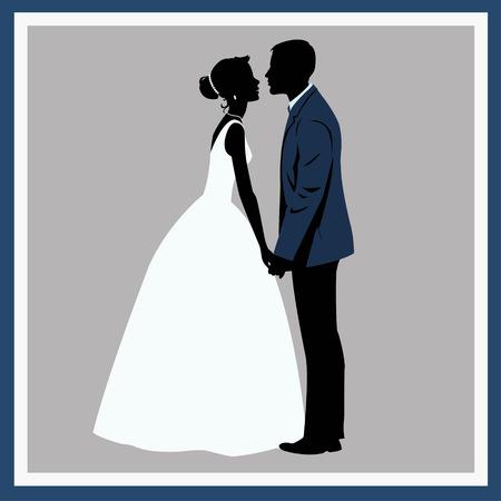 Silhouette-Hochzeits-Paar in der Liebe Standard-Bild - 39055242