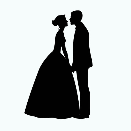young couple: Bride and Groom Silhouette - Illustration