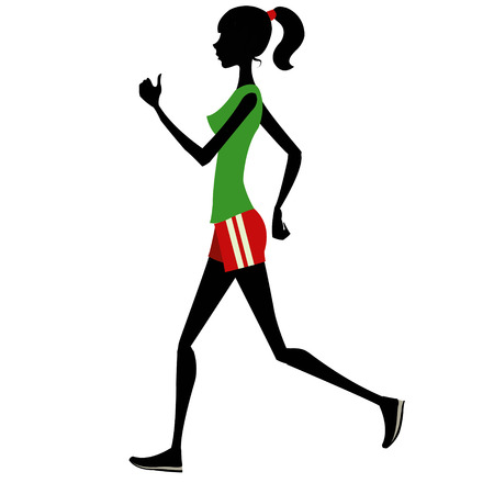 warming up: Slim girl runs silhouette
