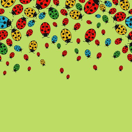 variegated: background with variegated ladybugs Illustration