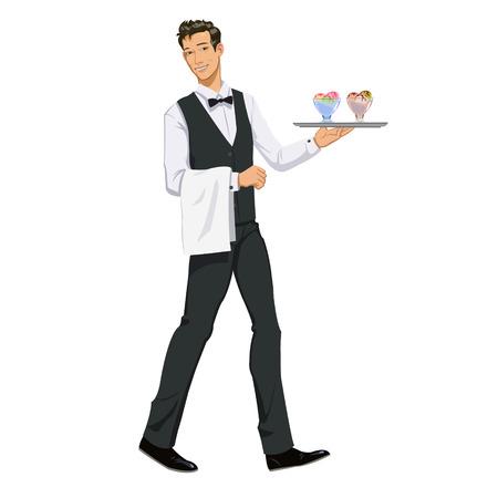 shiny suit: waiter with ice cream