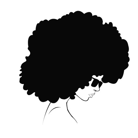 afro hair: profile silhouette of girl