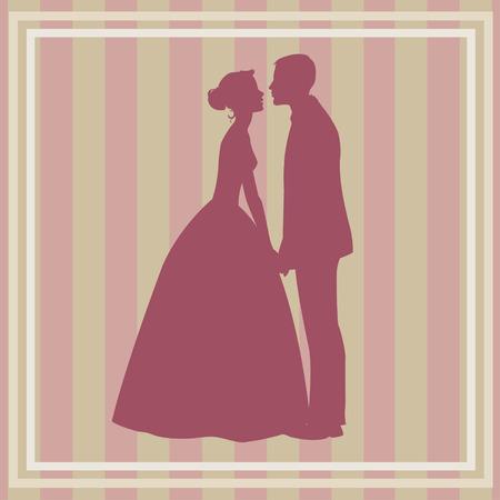 wedding couple: silhouette of wedding couple
