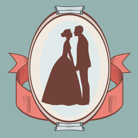 wedding couple: silhouette of wedding couple