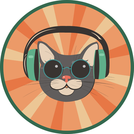 spectacled: funny cat in a retro style