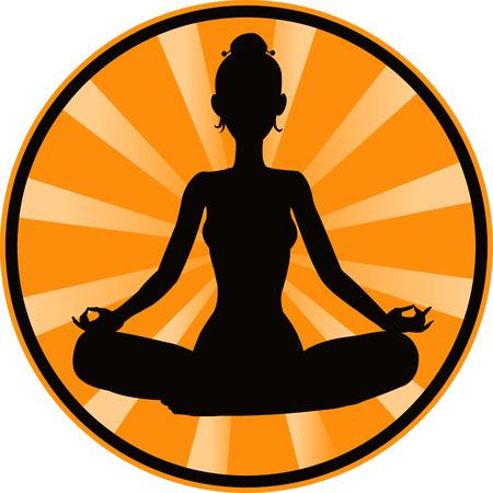 silueta humana: meditando