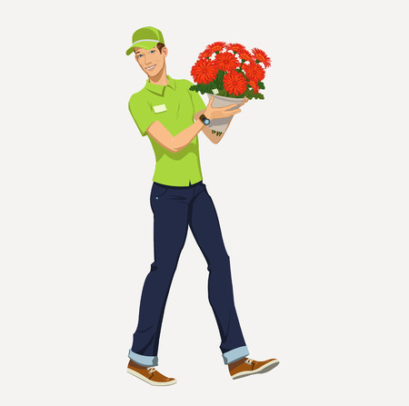 courier man: flower delivery