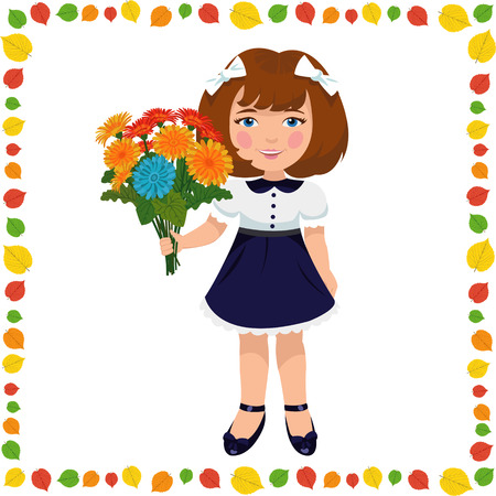 1 school bag: girl with a bouquet of flowers Illustration