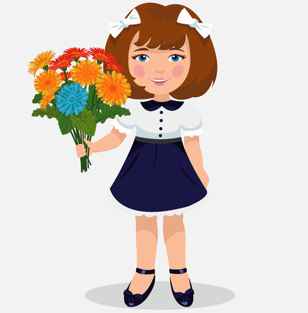 first day of school: girl with a bouquet of flowers Illustration