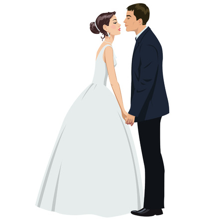 bride and groom illustration: wedding couple