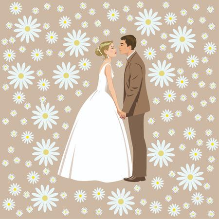 wedding reception decoration: wedding couple on the background of flowers Illustration