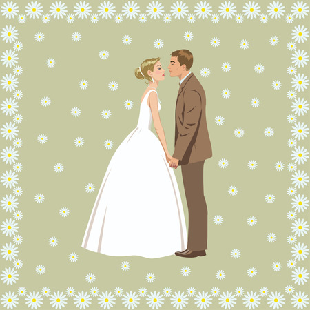 wedding reception decoration: wedding couple on the background of flowers Illustration