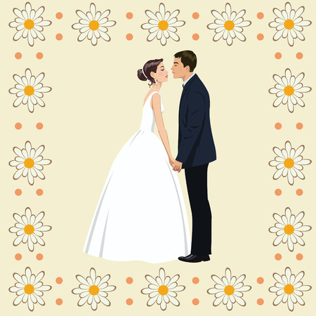 Wedding couple in Frame of flowers