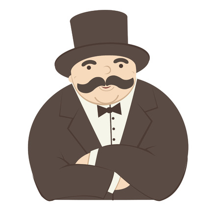 fairly rich man cartoon - vector illustration Illustration