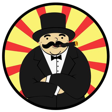 cartoon rijke man roken van een sigaar - Illustratie