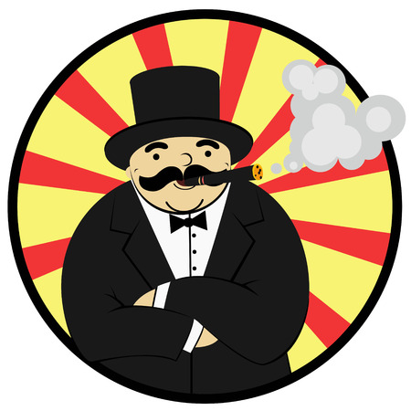 cigar smoking man: cartoon rich man smoking a cigar - Illustration