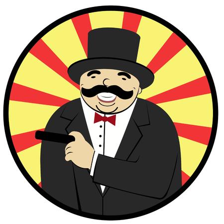hombre fumando puro: hombre de dibujos animados riendo y fumando un cigarro Vectores