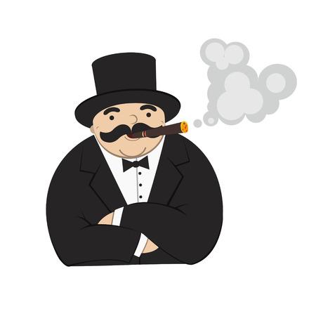 hombre fumando puro: rico hombre de la historieta que fuma un cigarro - Ilustraci�n Vectores