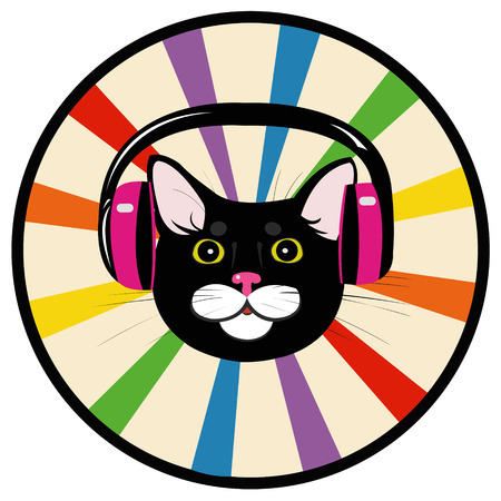 cat music headphones  イラスト・ベクター素材