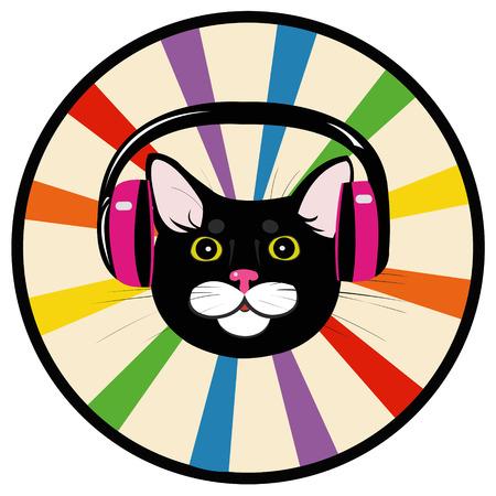 grey cat: cat music headphones Illustration