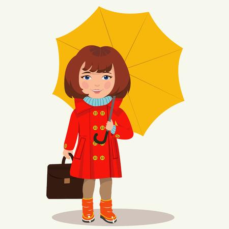 cartoon umbrella: girl with an umbrella
