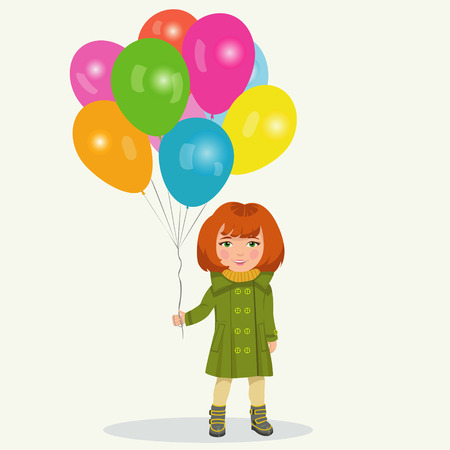 little child: girl with balloons