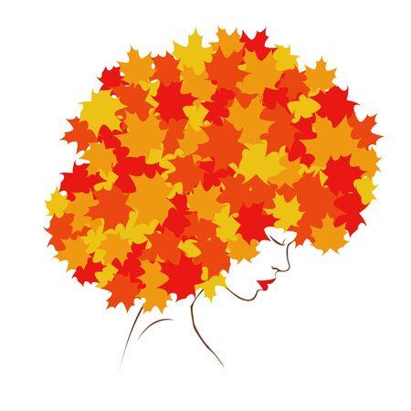 autumn woman: girl autumn Illustration