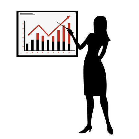 office work: silhouette woman showing presentation Illustration