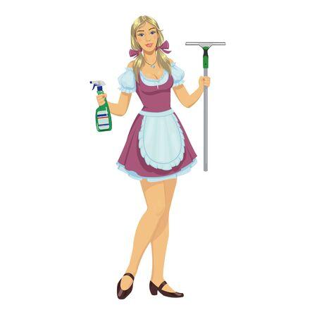 woman washing hair: beautiful girl maid cleaner