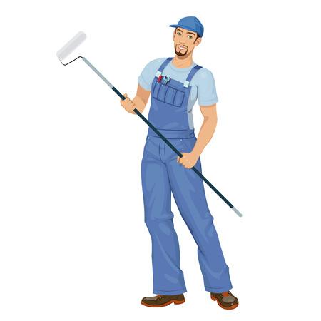 pintor: hombre pintor que trabaja