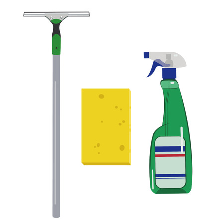 Detergents, sponge and scraper with a rubber surface