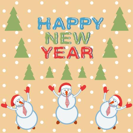 rejoice: Three funny cheerful snowman rejoice and congratulations Illustration