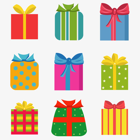 Set of nine colorful of different gift boxes Illustration