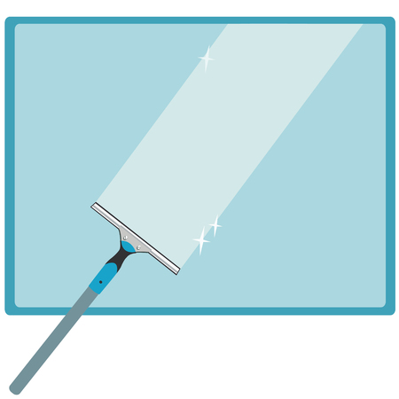 window glass: Wash the window glass by means of a scraper with a rubber surface. Vector illustration.