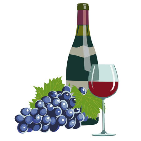 wine grapes: wine bottle, wine glass and grapes