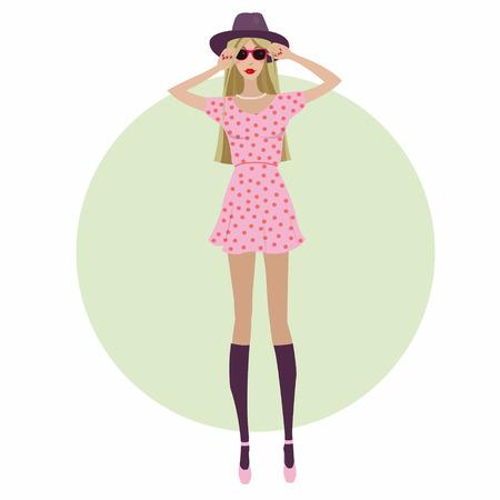 blonde hair cartoon: fashion girl