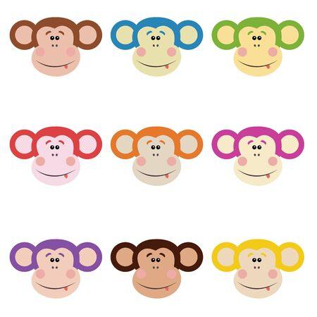 joking: funny monkey-set of nine color options Illustration