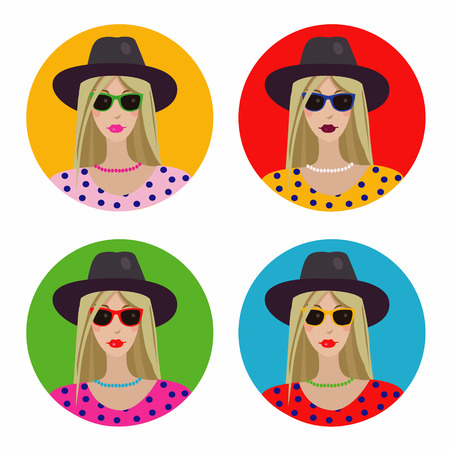 clothes cartoon: fashion girl-set of four color options