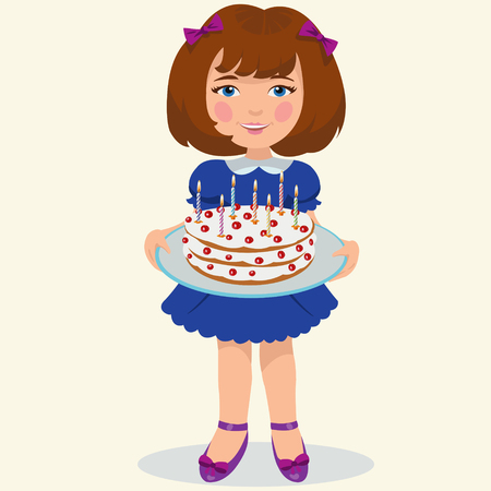 elementary age: girl with sweet cake