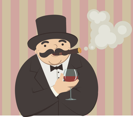 cigar smoking man: cartoon man smoking a cigar and drinking alcohol Illustration