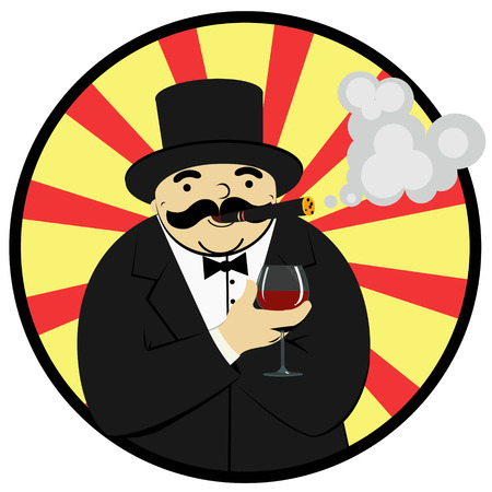 cigar smoking man: rich man with a glass of wine Illustration