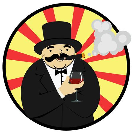 rijke man met een glas wijn