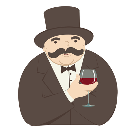 personable: rich man with a glass of wine Illustration